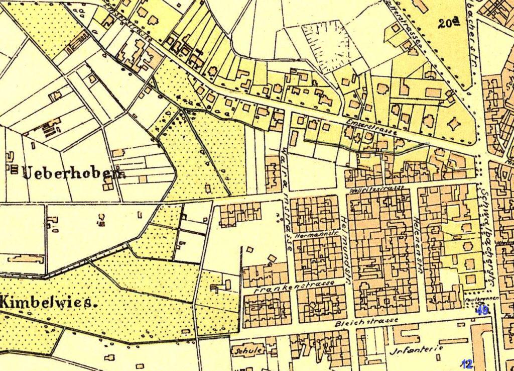 Abb. 3: Sedanstraße 1879 (Quelle: Historischer Atlas der Stadt Wiesbaden 1799-1910)