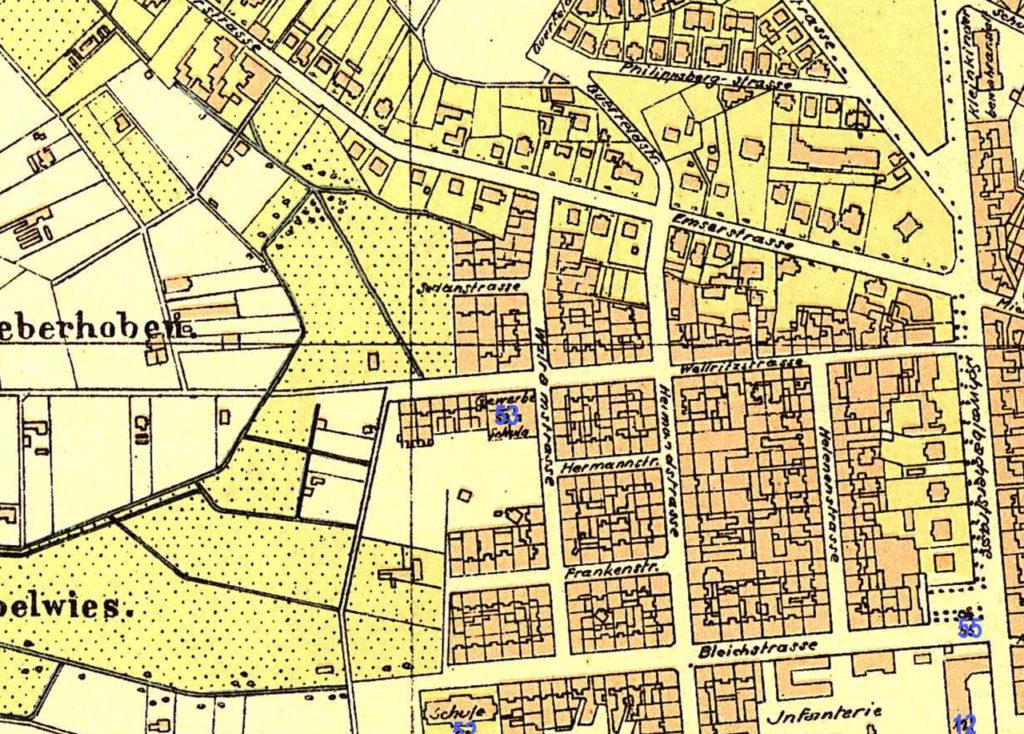 Abb. 4: Sedanstraße 1888 (Quelle: Historischer Atlas der Stadt Wiesbaden 1799-1910)