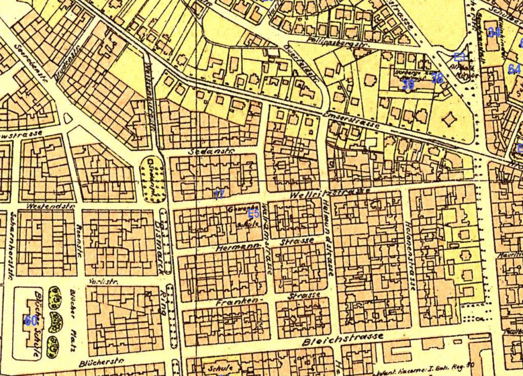 Abb. 5: Sedanstraße 1900 (Quelle: Historischer Atlas der Stadt Wiesbaden 1799-1910)